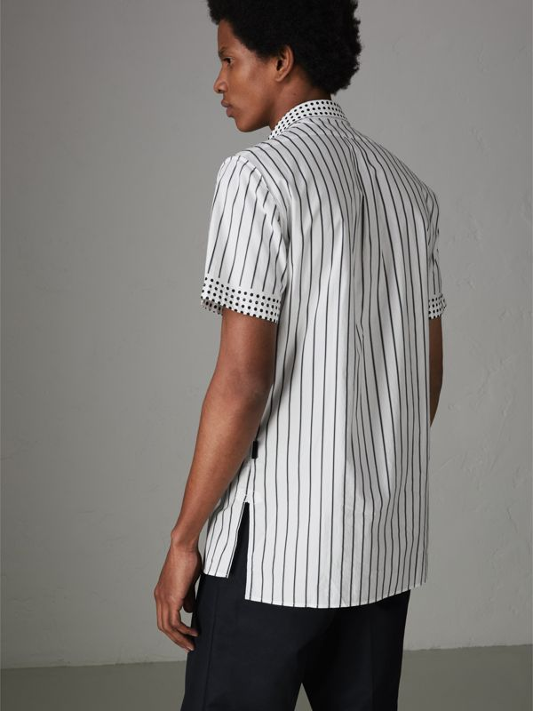 Short-sleeve Stripe and Spot Print Cotton Shirt in Black - Men | Burberry - cell image 2