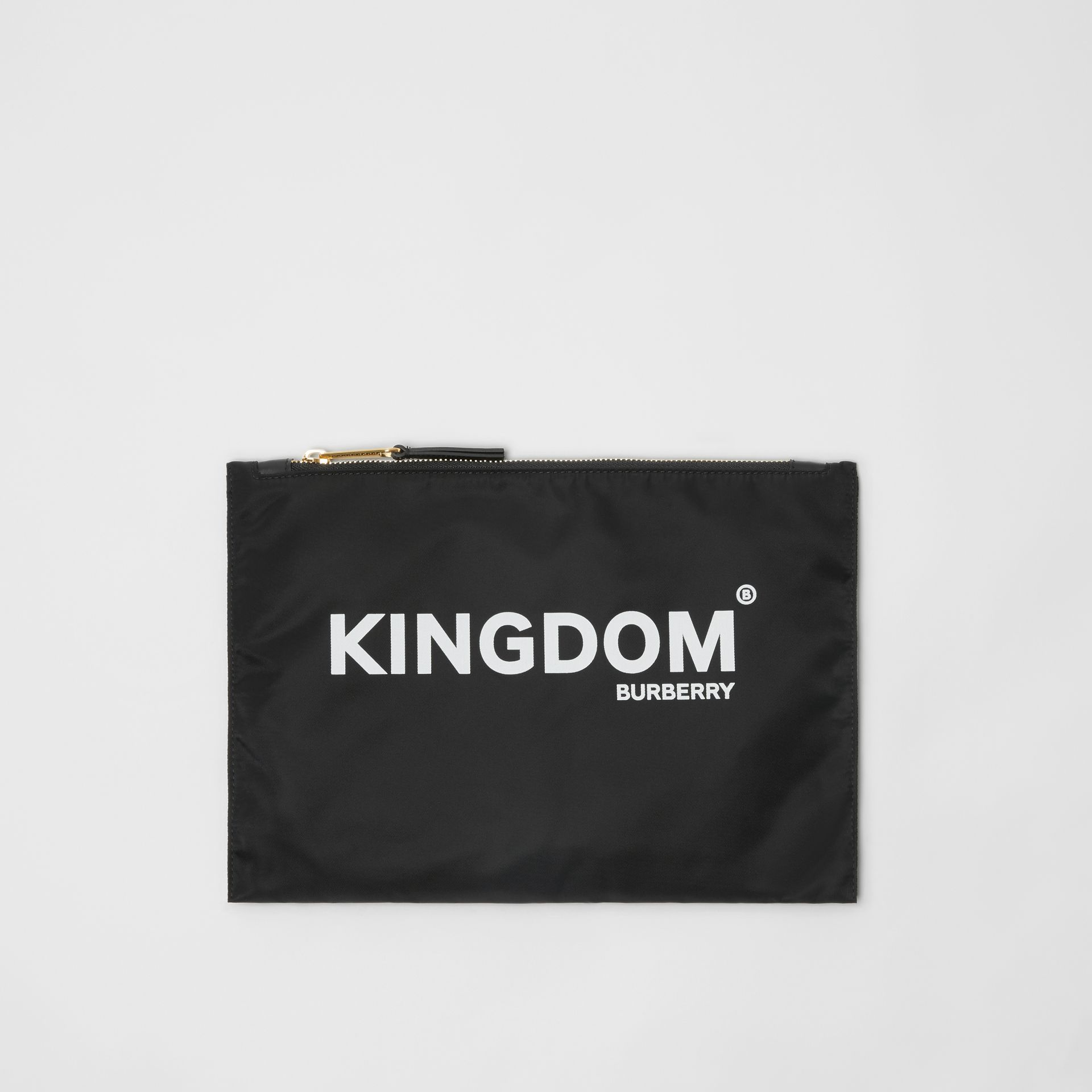 Kingdom Print Nylon Pouch in Black | Burberry United Kingdom - gallery image 0