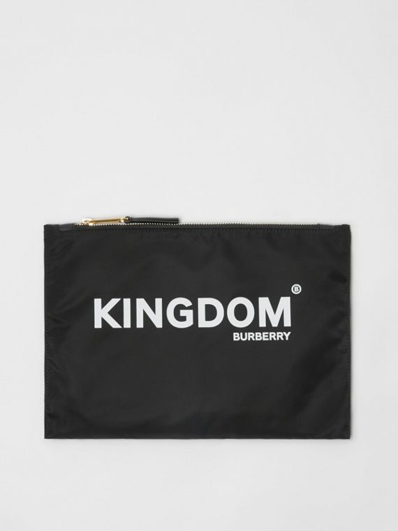"Estuche en nailon con estampado ""Kingdom"" (Negro)"