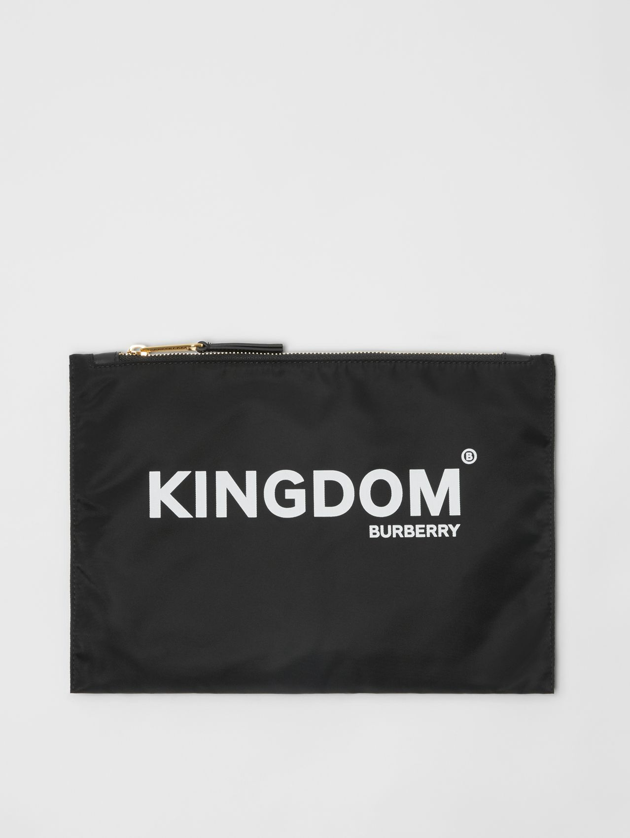Kingdom Print Nylon Pouch in Black
