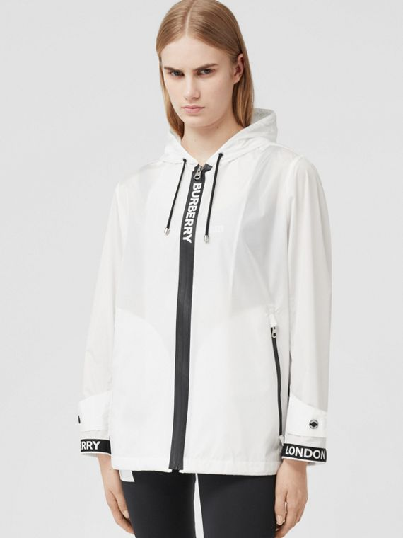 Logo Tape ECONYL® Hooded Jacket in Optic White