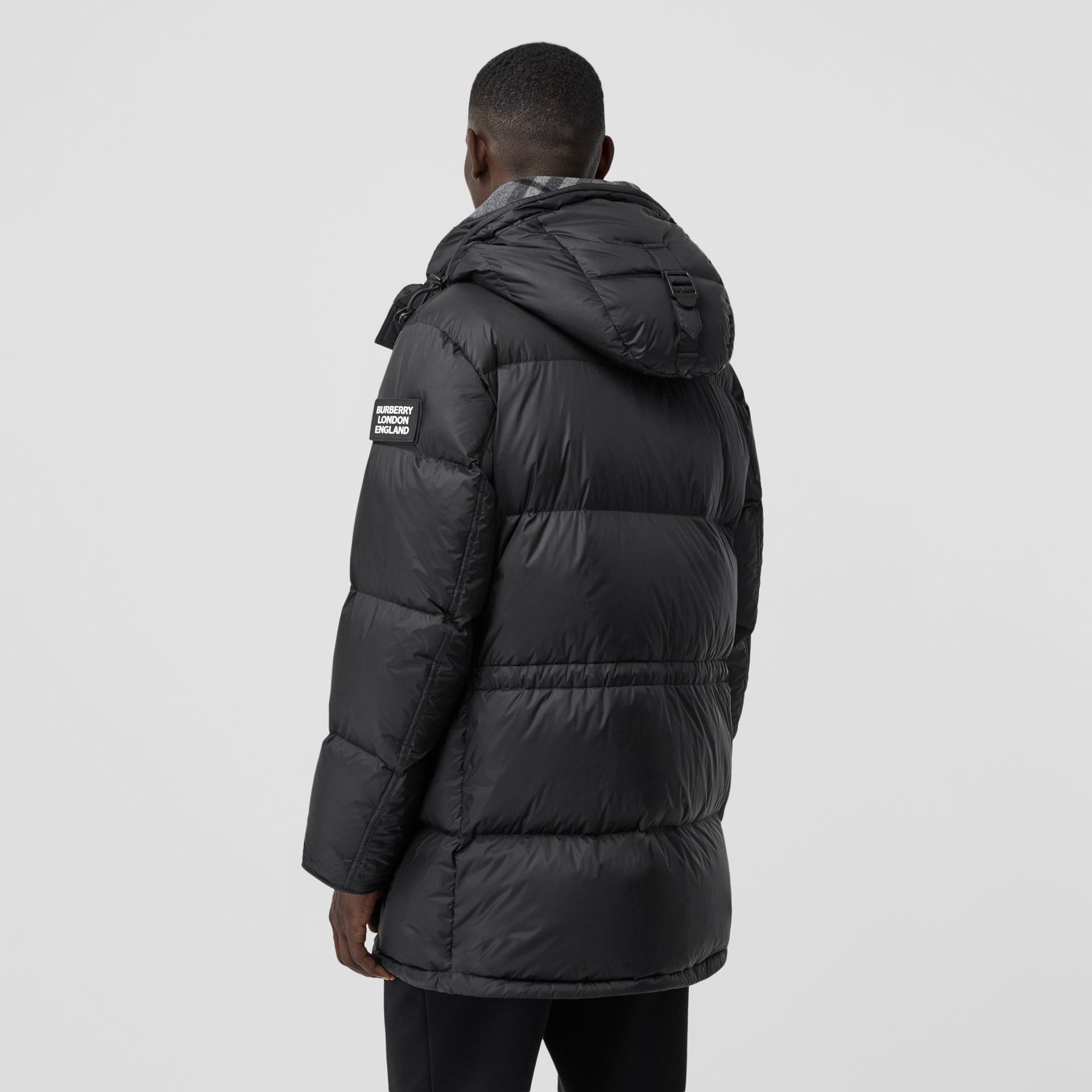 Logo Detail Hooded Puffer Coat in Black - Men | Burberry - gallery image 2
