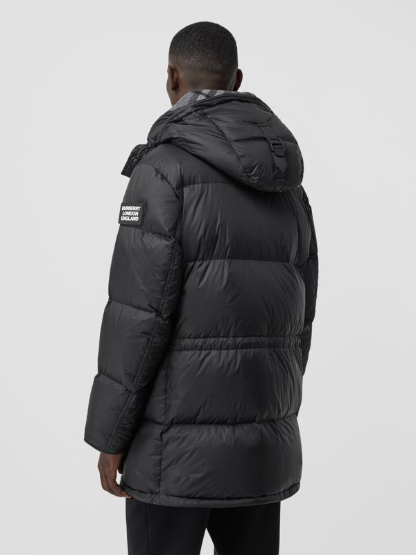 Logo Detail Hooded Puffer Coat in Black - Men | Burberry - cell image 2
