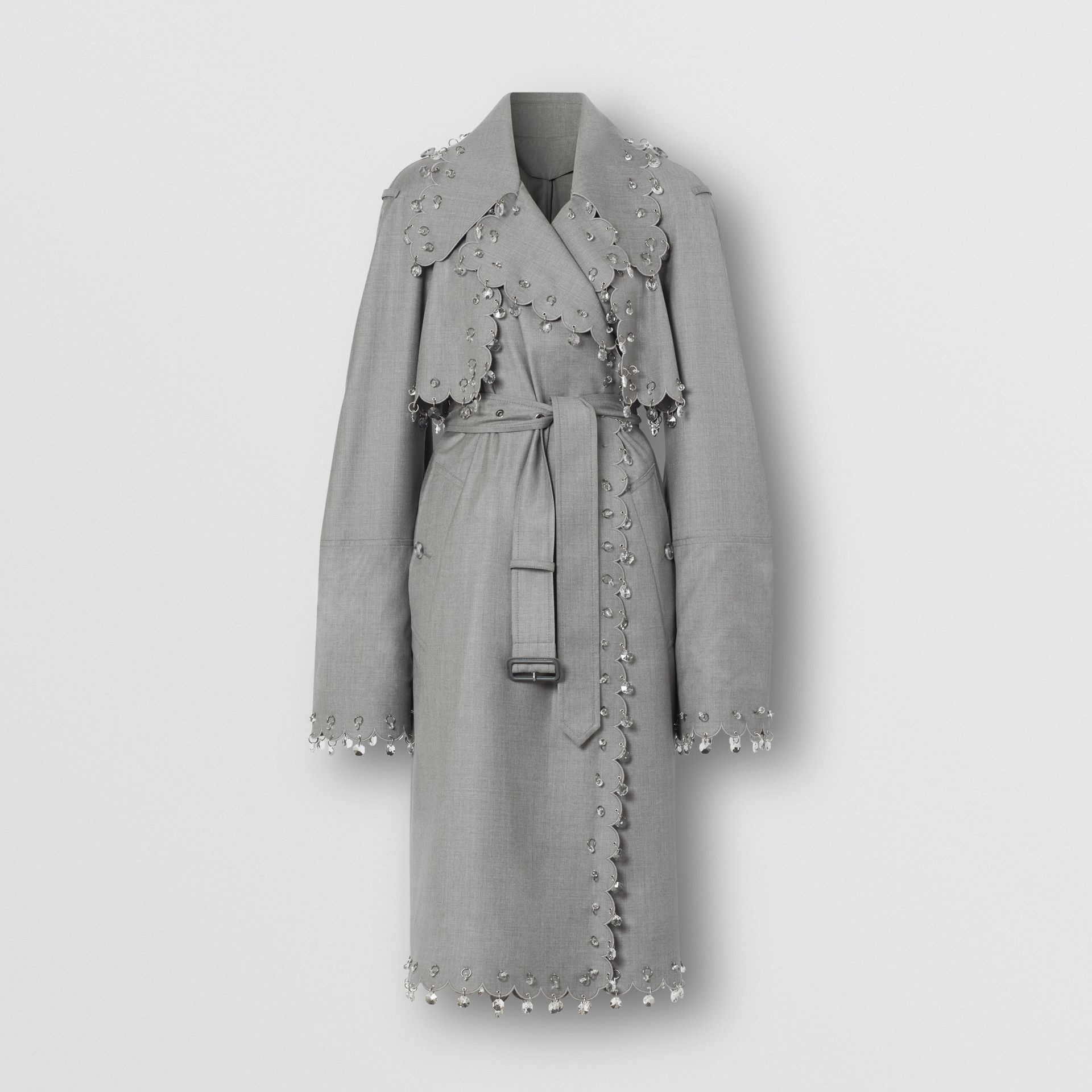 Crystal Ring-pierced Wool Reconstructed Trench Coat in Cloud Grey - Women | Burberry - gallery image 3
