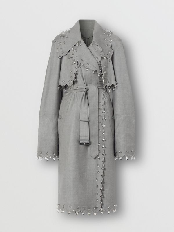 Crystal Ring-pierced Wool Reconstructed Trench Coat in Cloud Grey - Women | Burberry - cell image 3