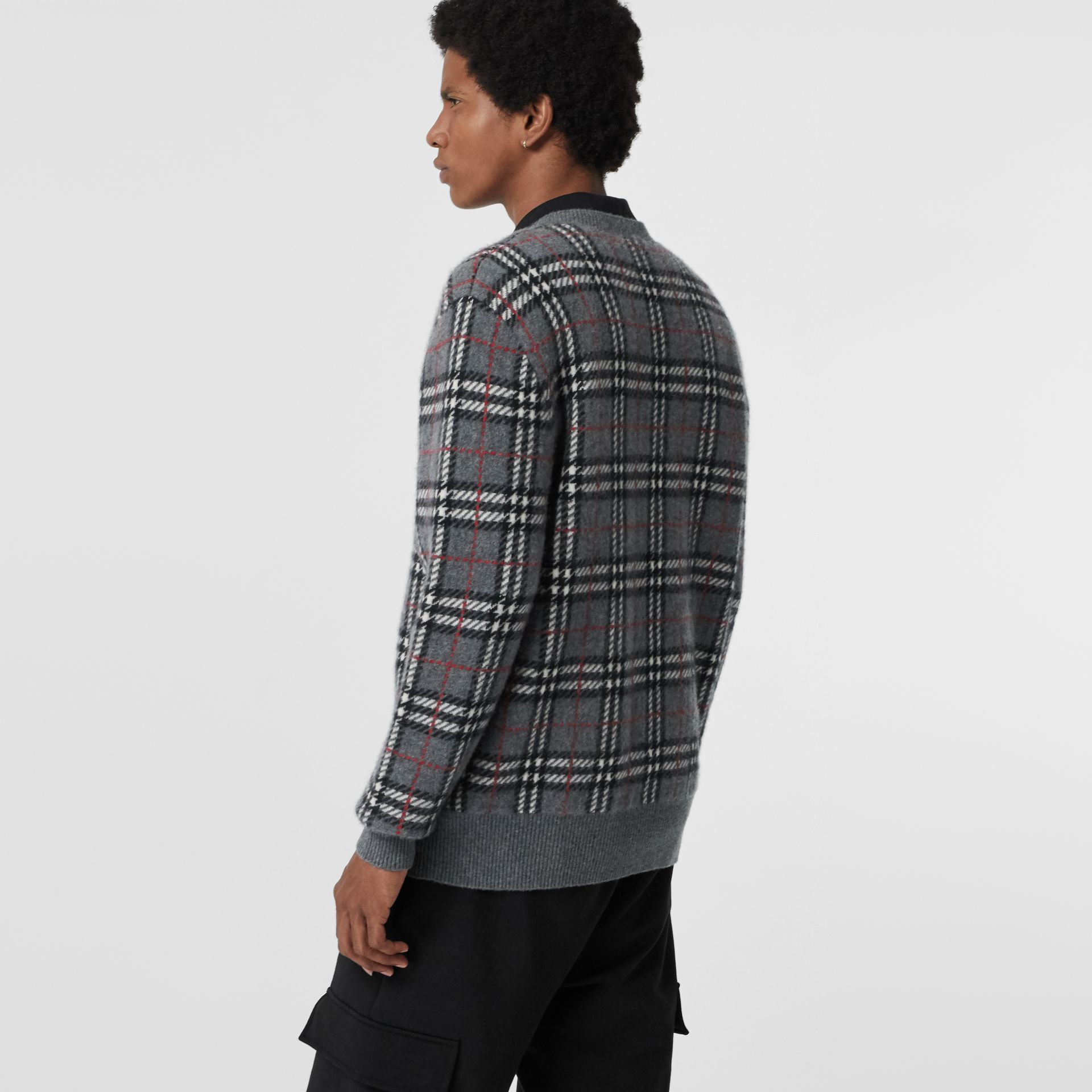 Check Cashmere Jacquard Sweater in Mid Grey Melange - Men | Burberry Singapore - gallery image 2