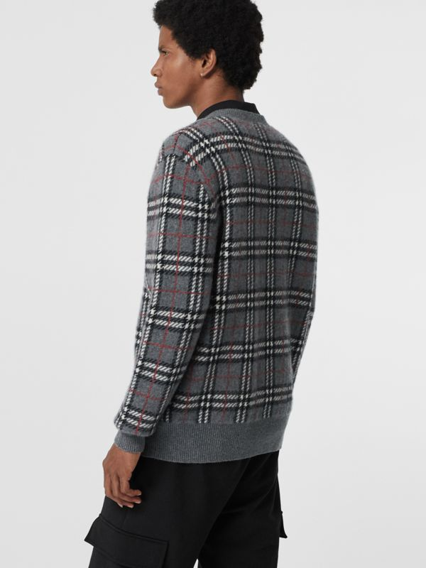 Check Cashmere Jacquard Sweater in Mid Grey Melange - Men | Burberry United Kingdom - cell image 2