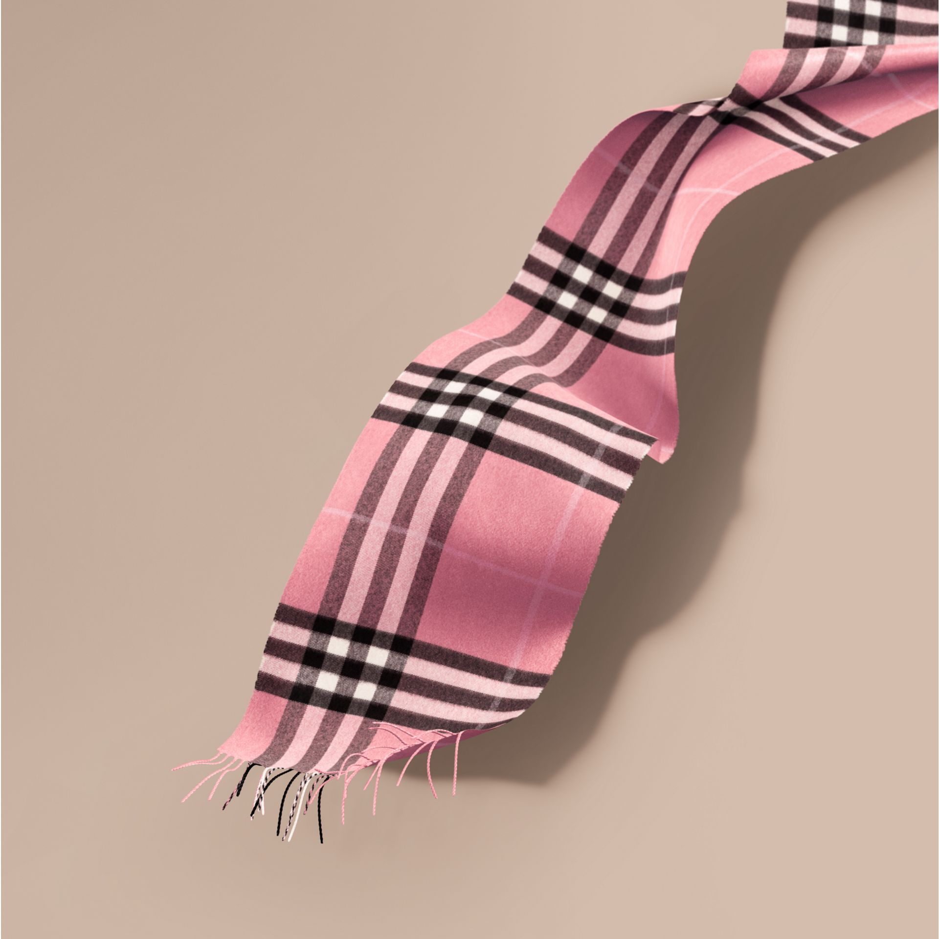 The Classic Cashmere Scarf in Check  Rose Pink - gallery image 1