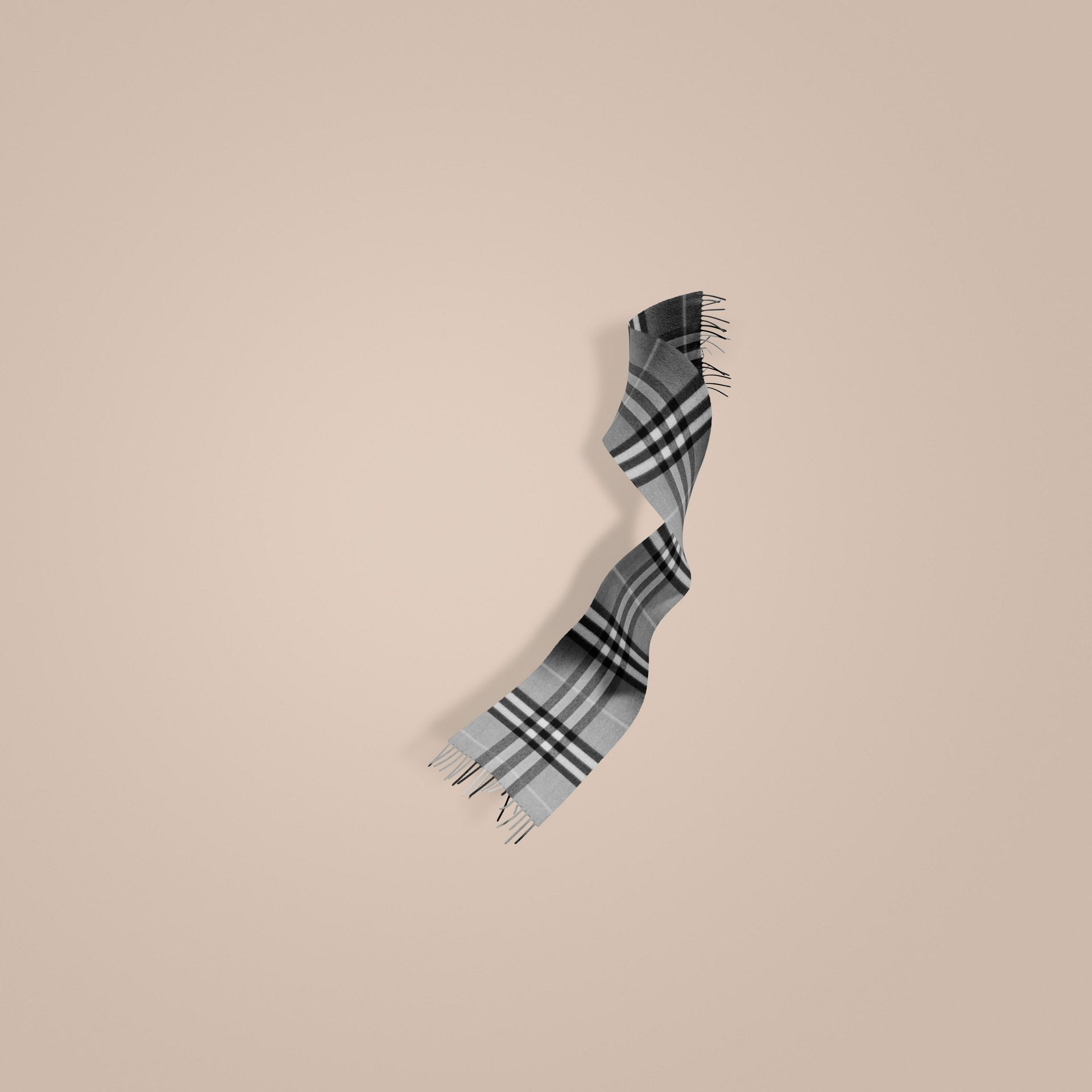 Pale grey The Mini Classic Cashmere Scarf in Check Pale Grey - gallery image 1