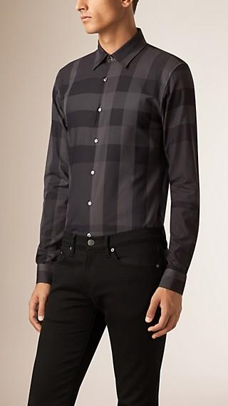 Camisa de algodão com estampa xadrez