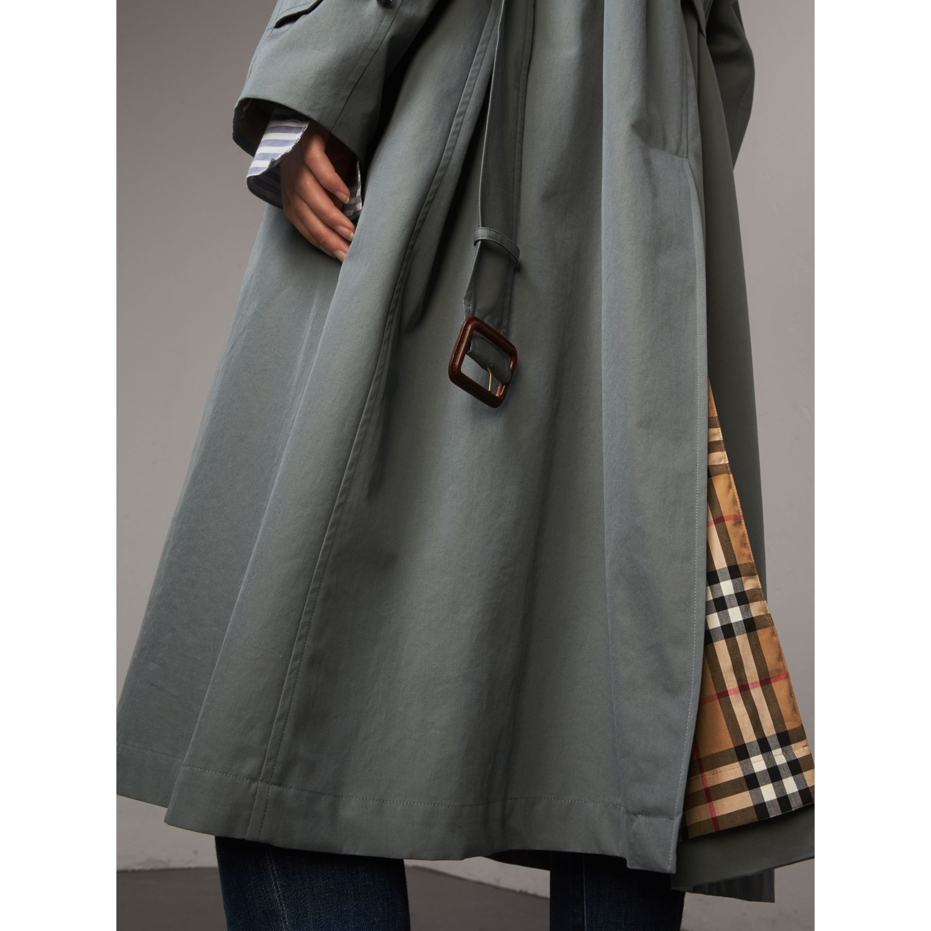 The Brighton – Extra-long Car Coat in Dusty Blue - Women | Burberry Canada - gallery image 5