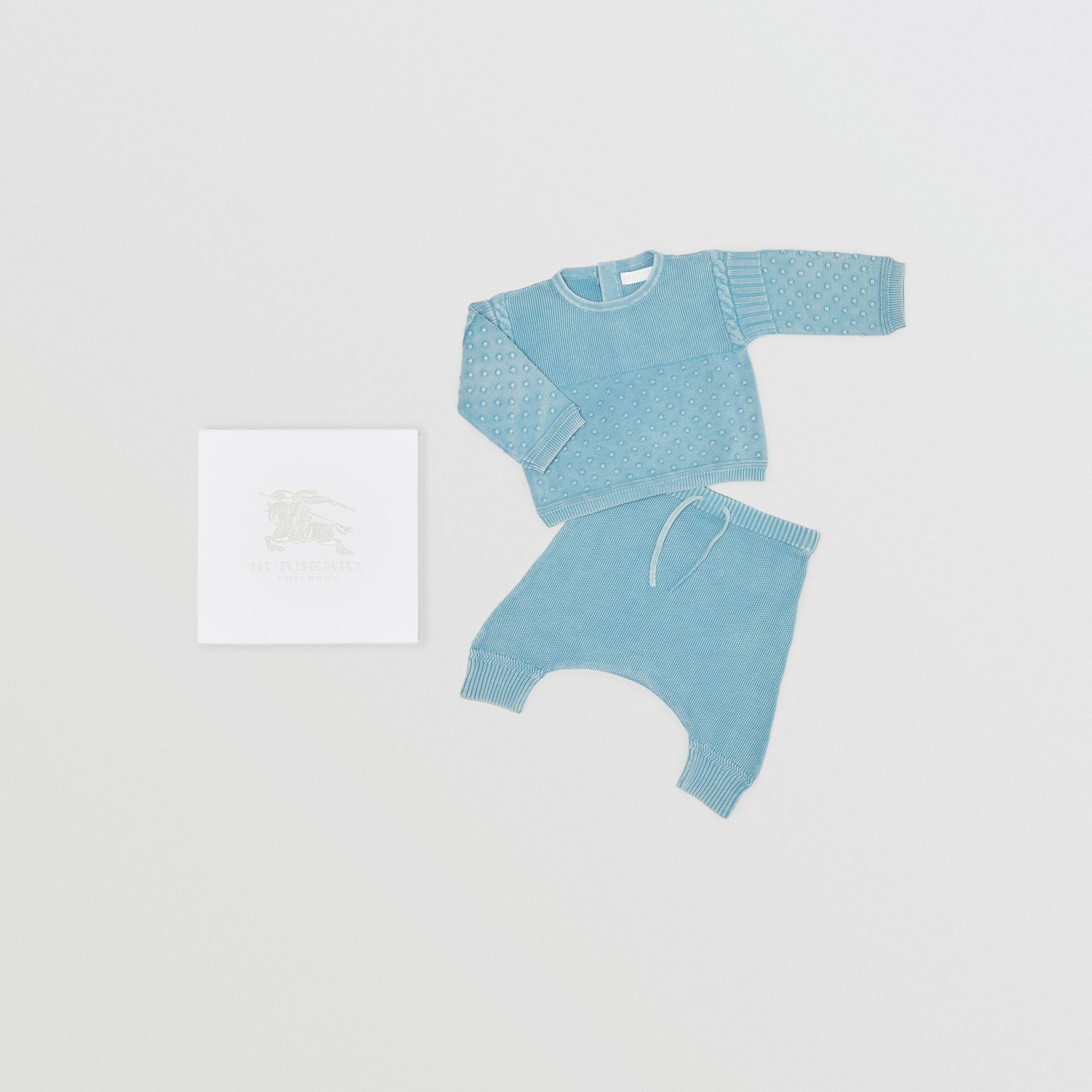Contrast Knit Cotton Two-piece Baby Gift Set in Opal Blue - Children | Burberry - gallery image 0