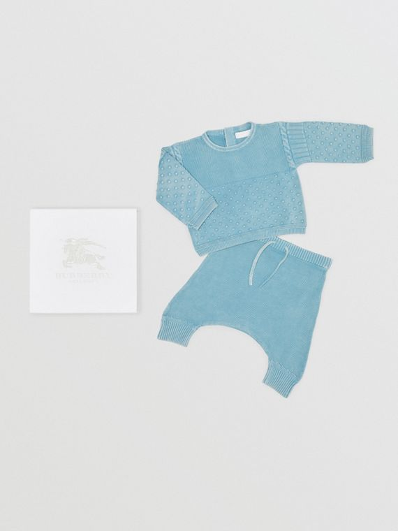 Contrast Knit Cotton Two-piece Baby Gift Set in Opal Blue