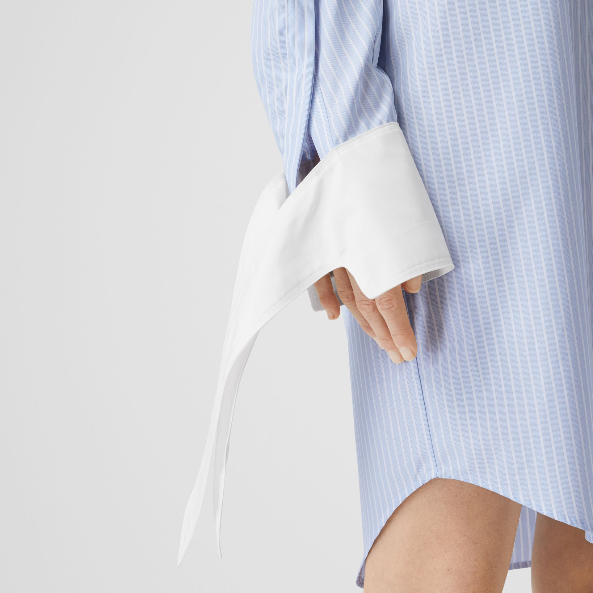 Striped Cotton Poplin Shirt Dress in Pale Blue - Women | Burberry - gallery image 4