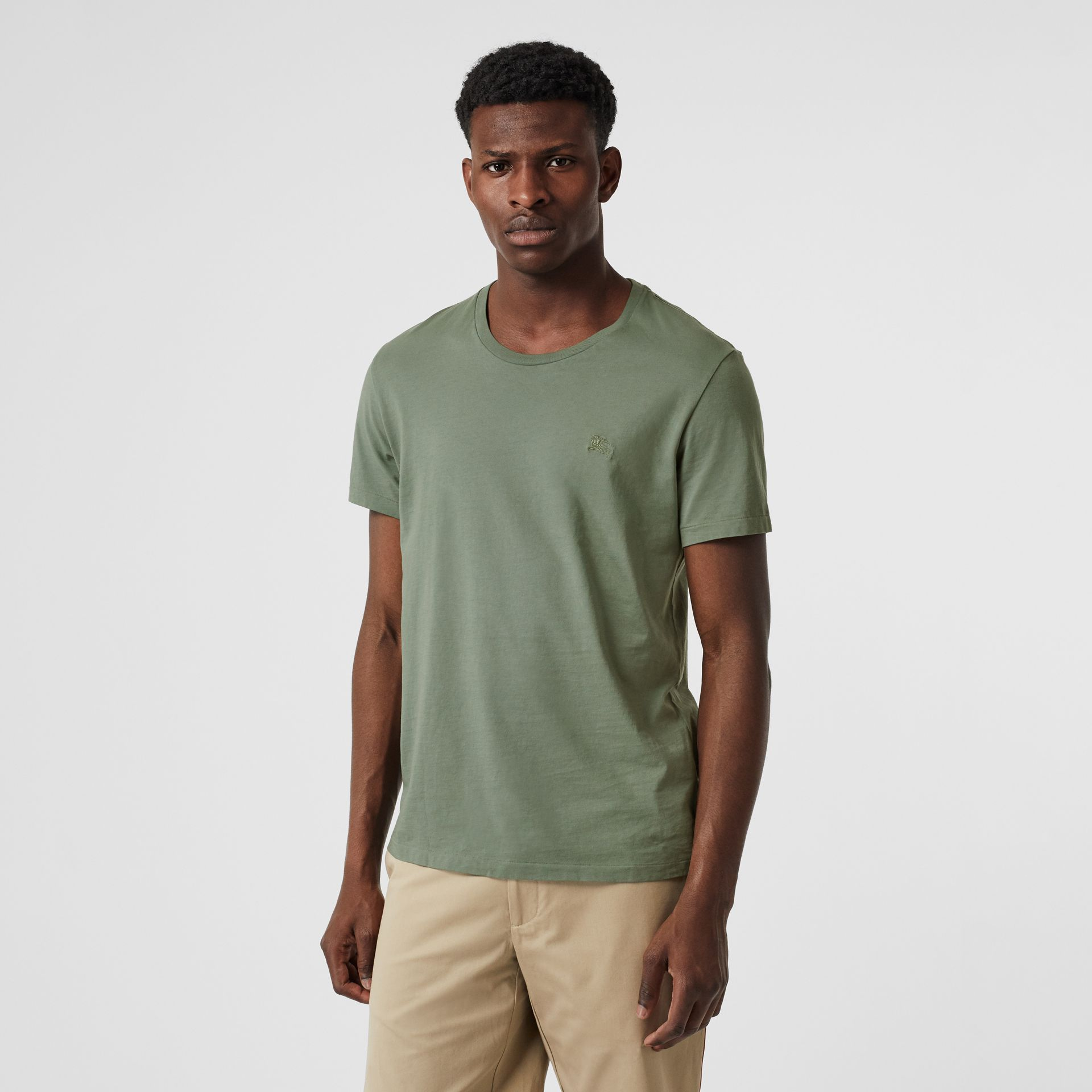 Cotton T-shirt in Clay Green - Men | Burberry - gallery image 0