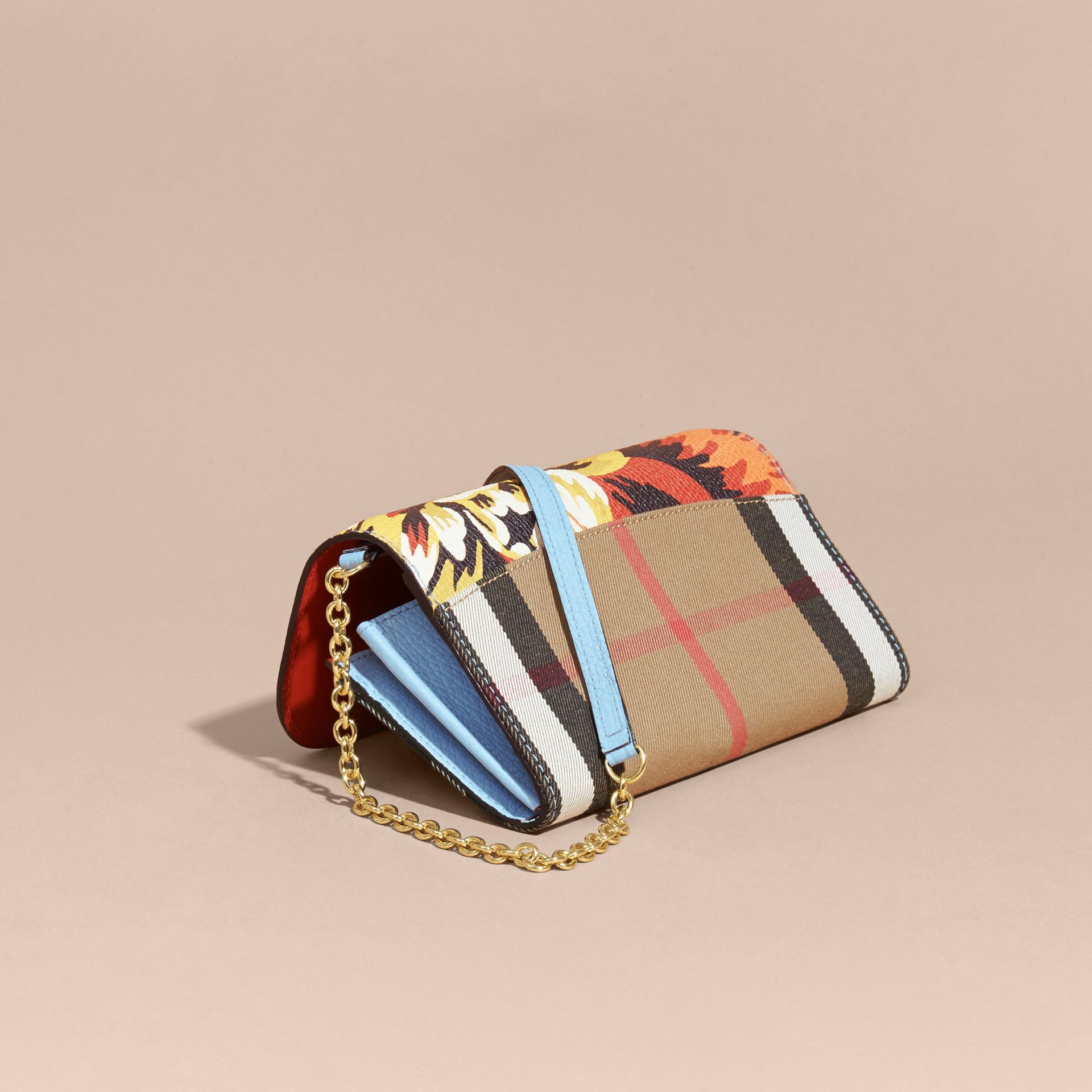 House Check and Peony Rose Print Wallet with Chain in Pale Blue/vibrant Orange - gallery image 4