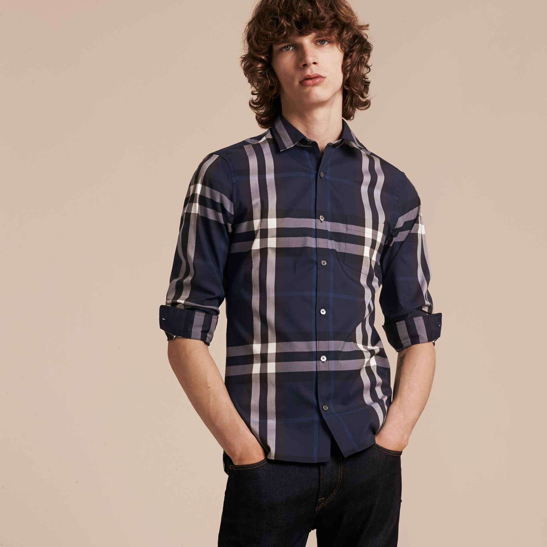 Indigo blue Check Stretch Cotton Shirt Indigo Blue - gallery image 6