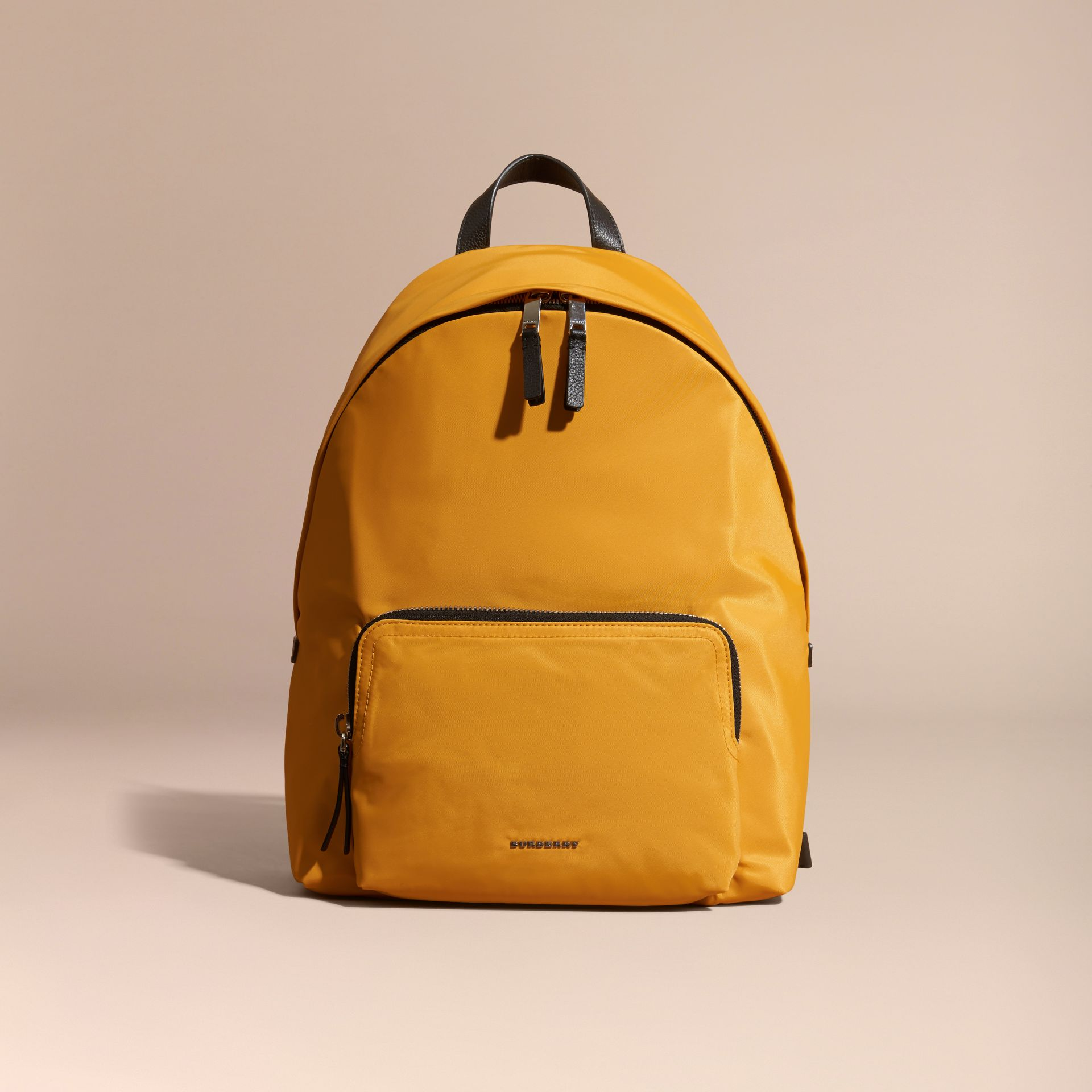Amber yellow Leather Trim Nylon Backpack Amber Yellow - gallery image 8