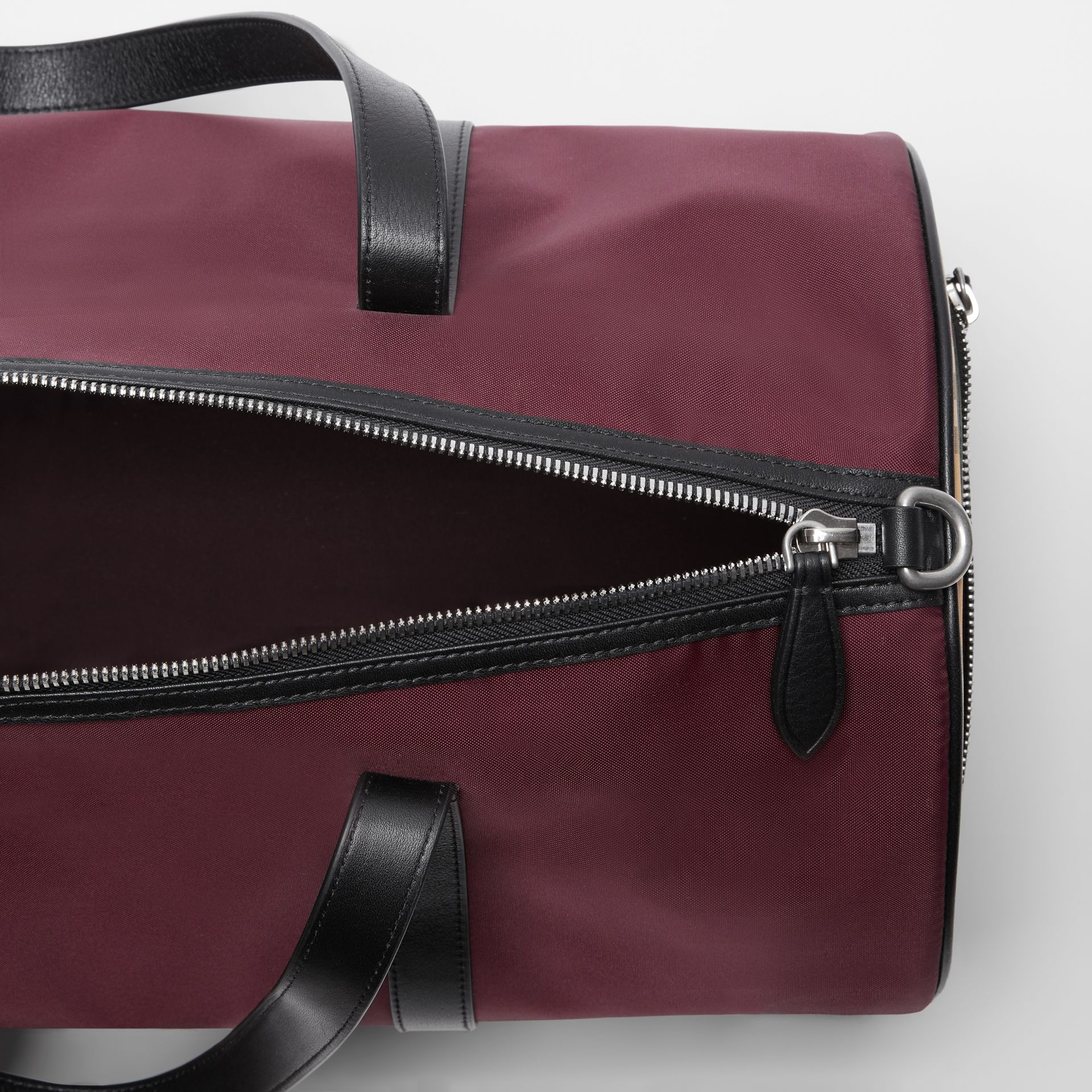 Medium Nylon and Vintage Check Barrel Bag in Oxblood - Men | Burberry - gallery image 4