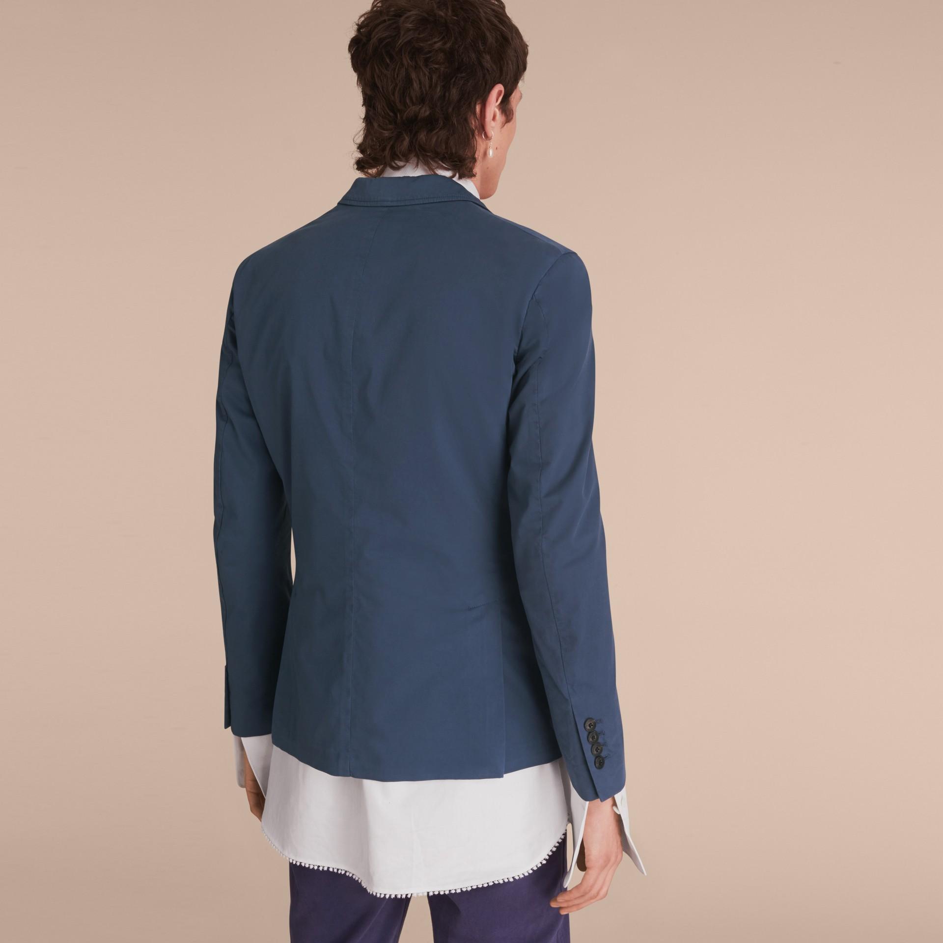 Slim Fit Stretch-cotton Blazer Navy - gallery image 3