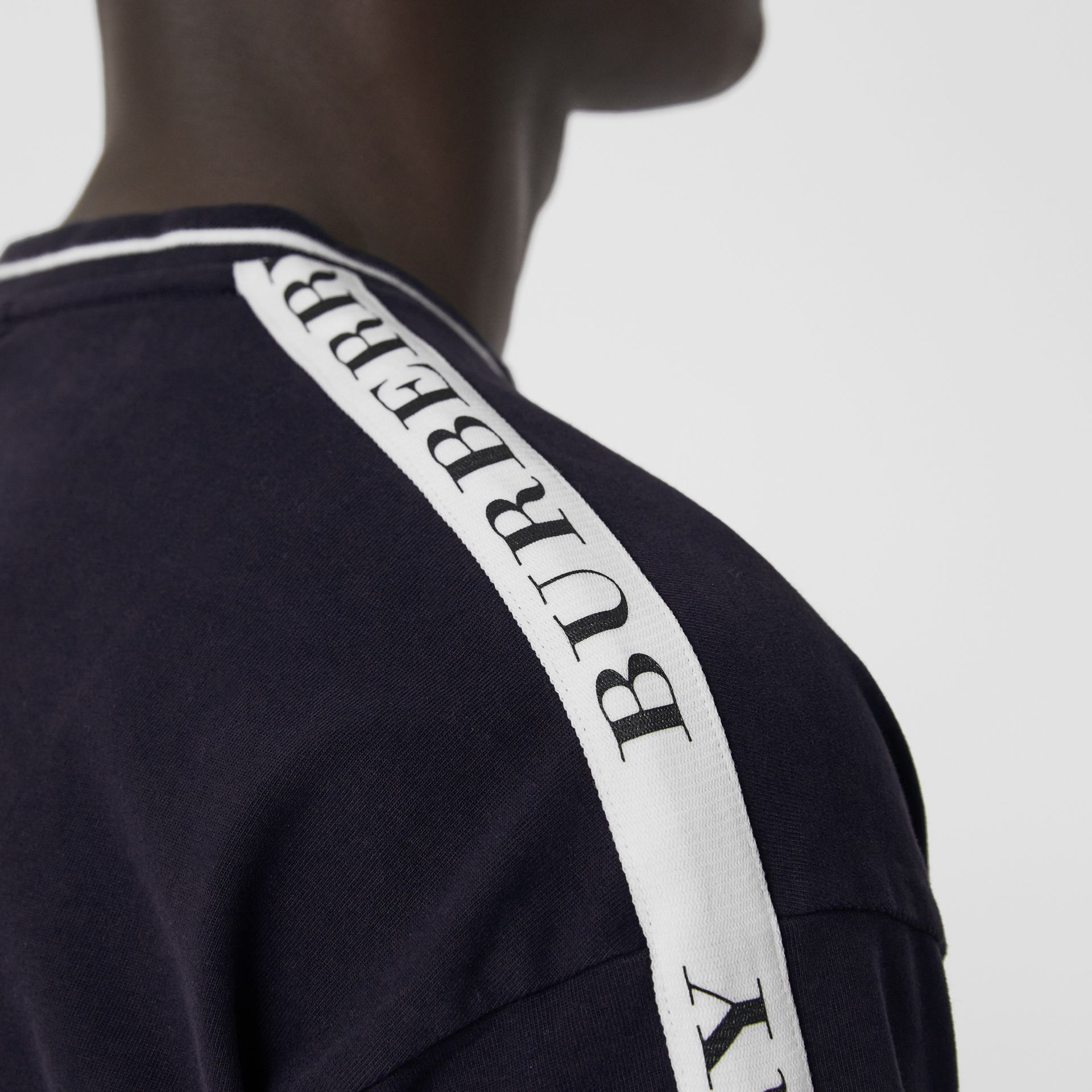 Tape Detail Cotton T-shirt in Dark Navy - Men | Burberry - gallery image 1
