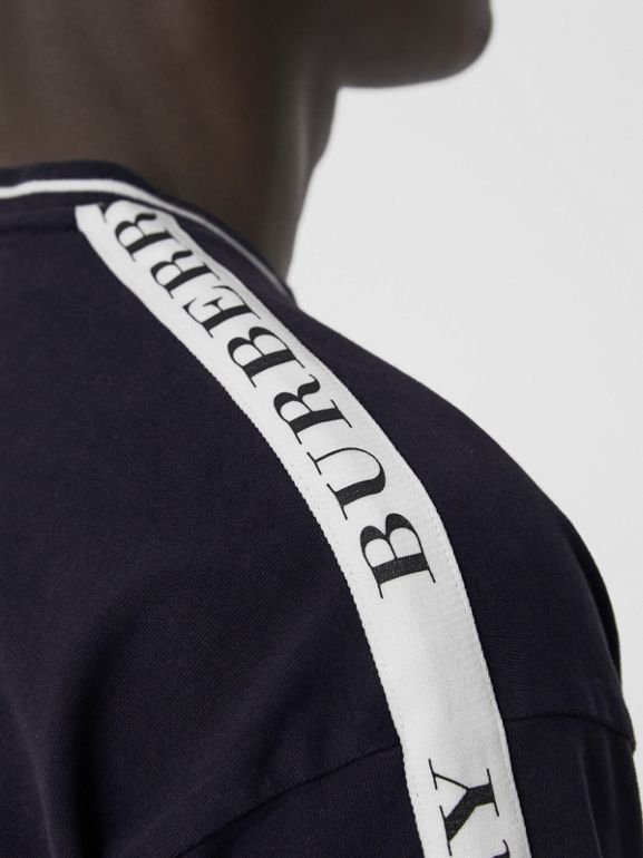 Tape Detail Cotton T-shirt in Dark Navy - Men | Burberry Australia - cell image 1
