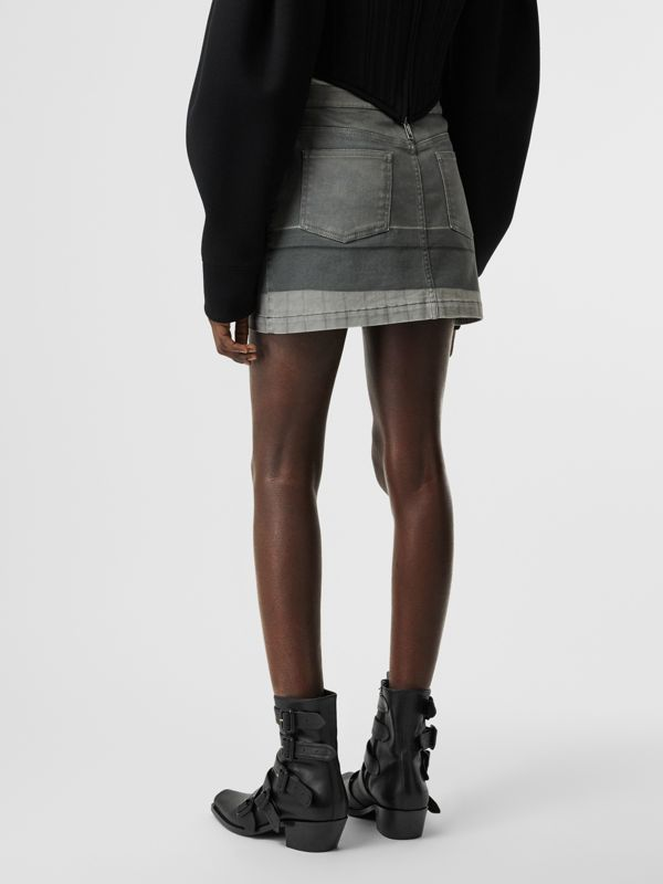 Victorian Portrait Print Stretch Denim Mini Skirt in Grey - Women | Burberry Singapore - cell image 2