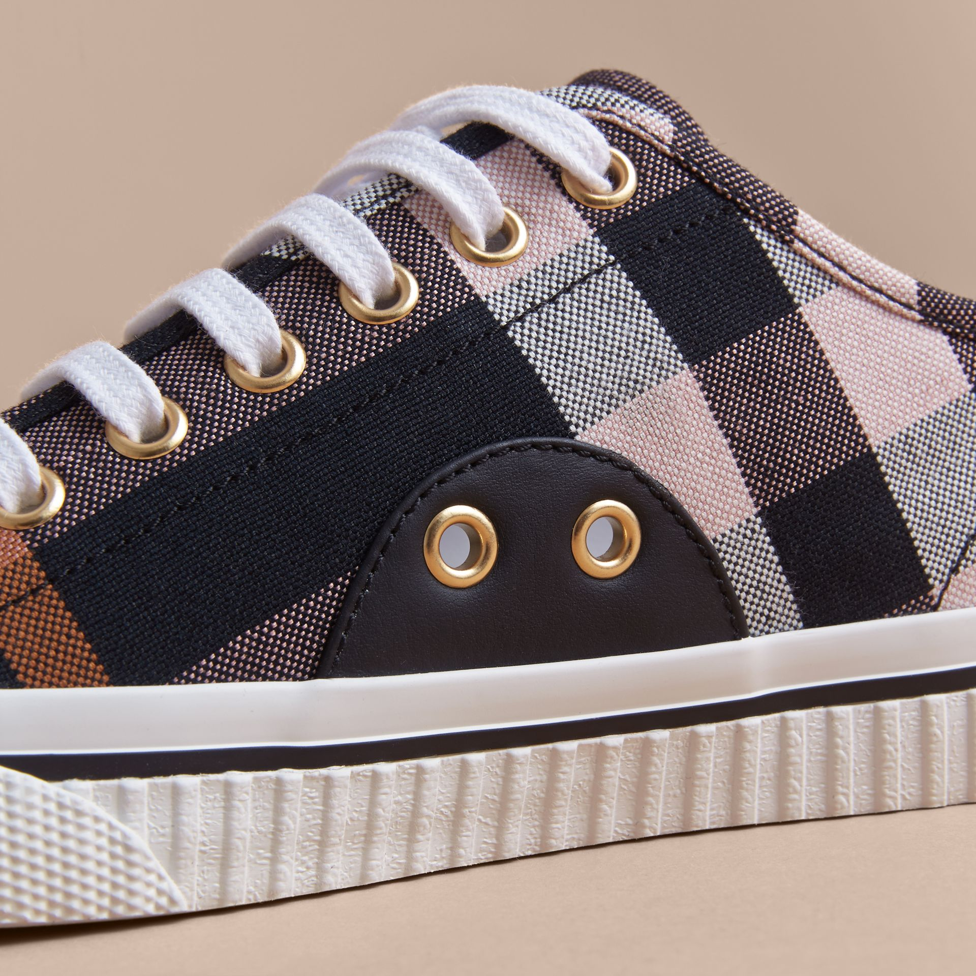Check Linen Cotton Trainers in Antique Rose - Women | Burberry Singapore - gallery image 2