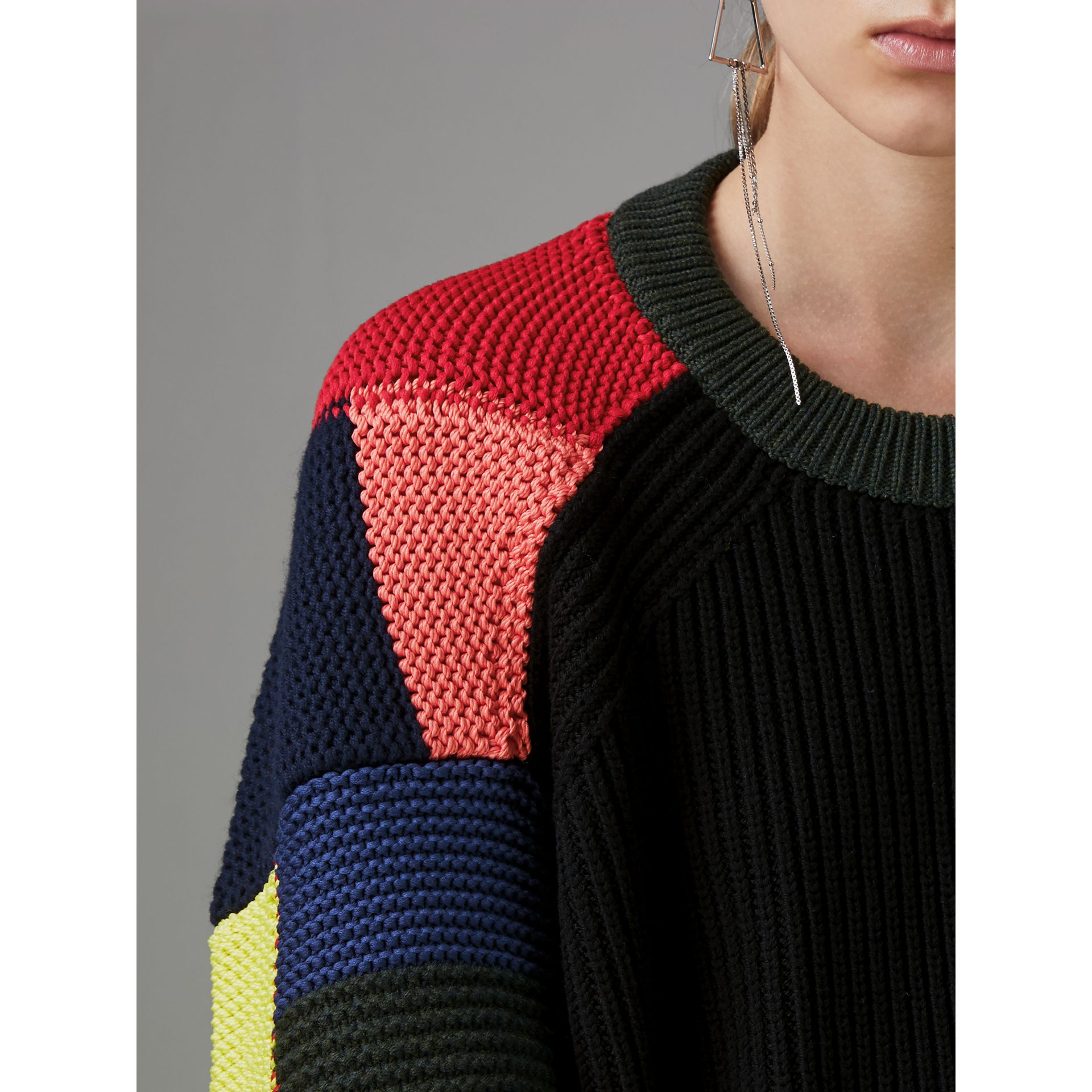 Patchwork Wool Blend Sweater in Multicolour - Women | Burberry Australia - gallery image 1