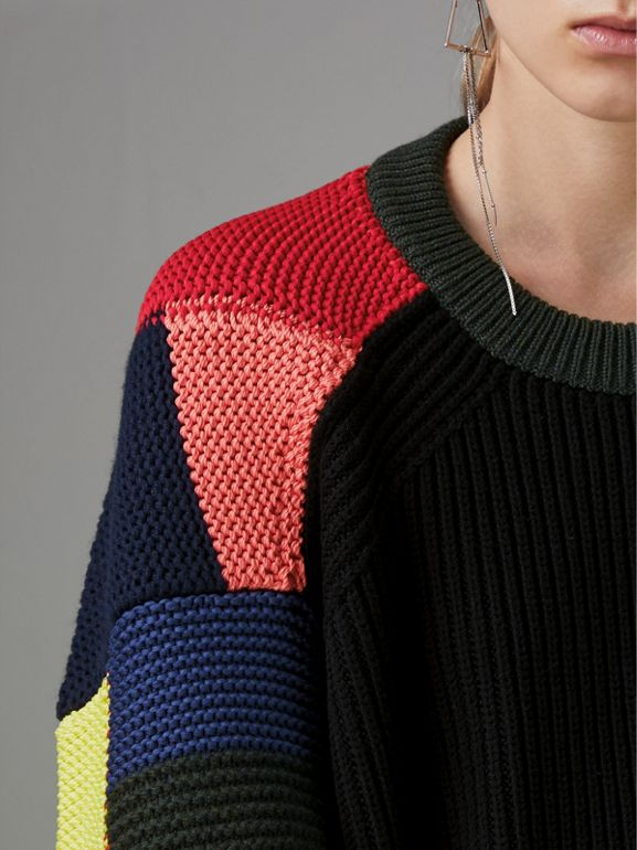 Patchwork Wool Blend Sweater in Multicolour - Women | Burberry Canada - cell image 1