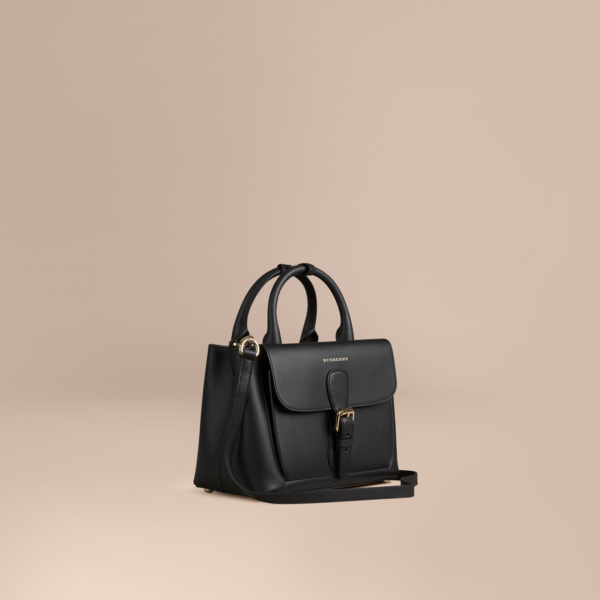Black The Small Saddle Bag in Smooth Bonded Leather Black - gallery image 1