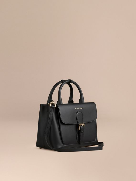 The Small Saddle Bag in Smooth Bonded Leather Black