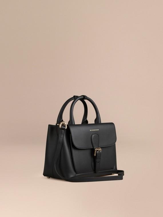 Bolso Saddle pequeño en piel lisa encolada Negro