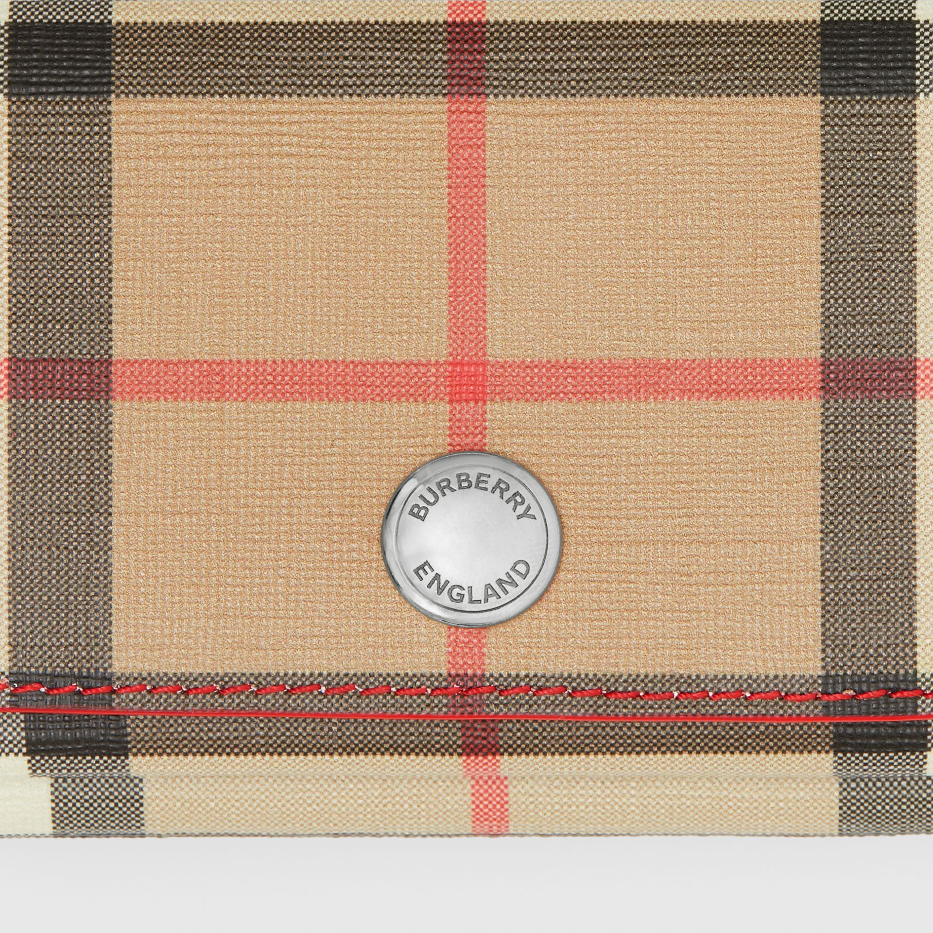 Small Vintage Check E-canvas Folding Wallet in Bright Military Red - Women | Burberry - gallery image 1