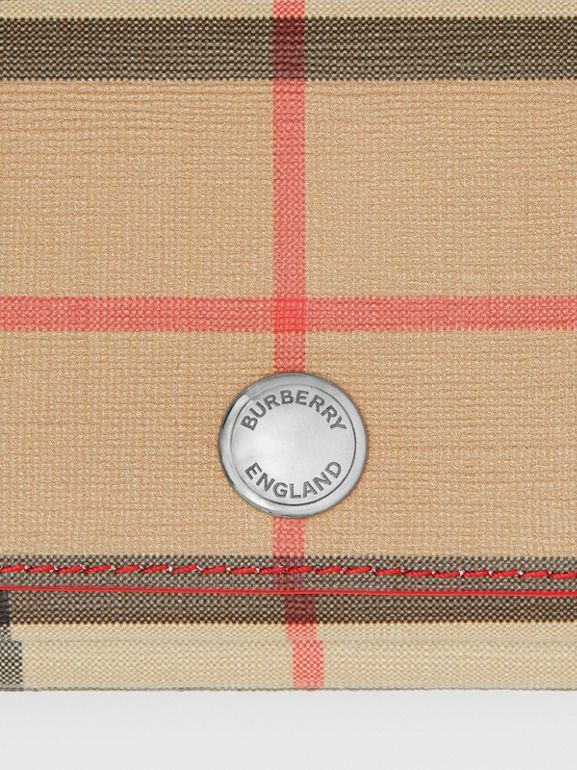 Small Vintage Check E-canvas Folding Wallet in Bright Military Red - Women | Burberry United Kingdom - cell image 1