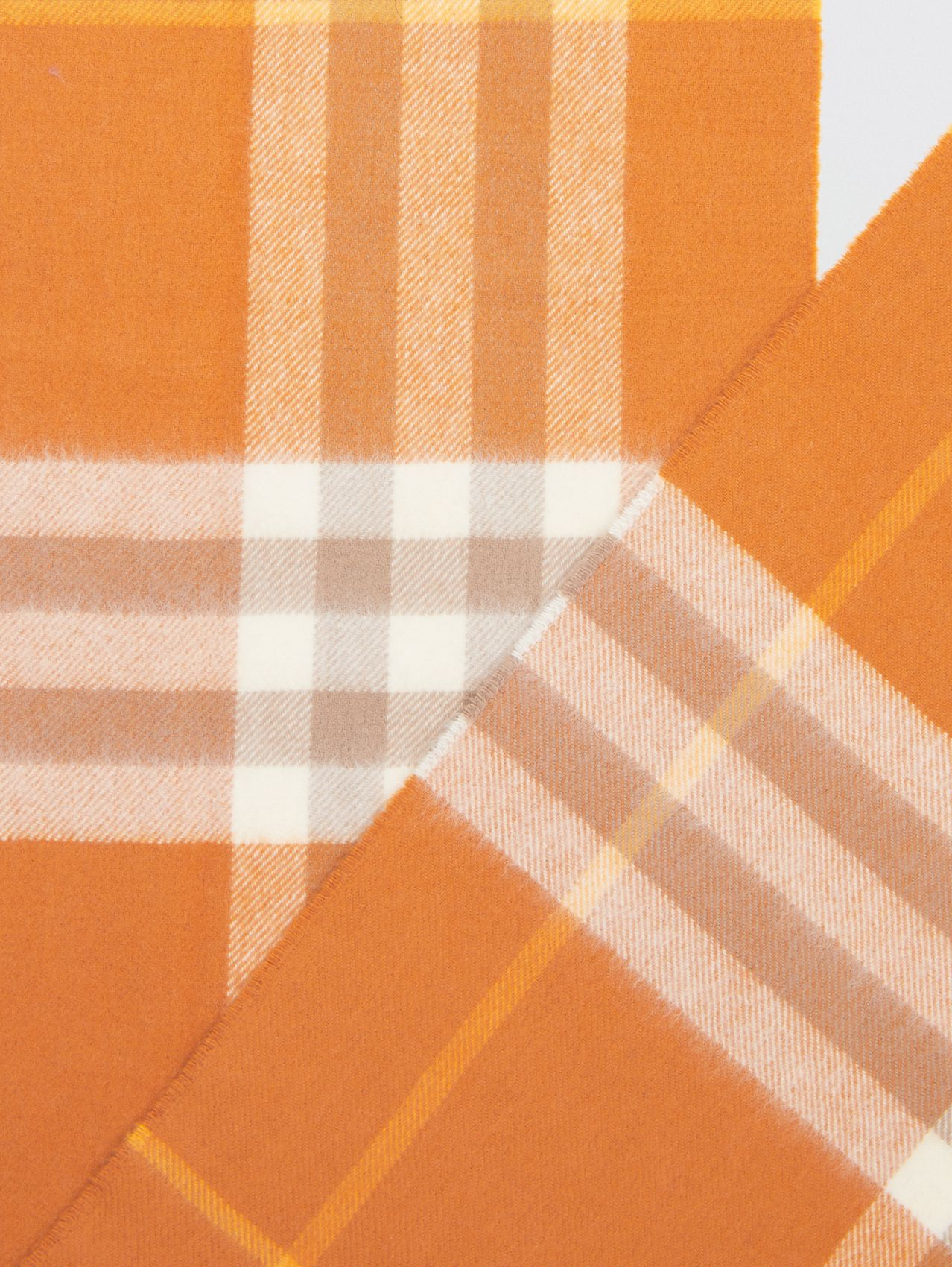 The Classic Check Cashmere Scarf in Bright Melon