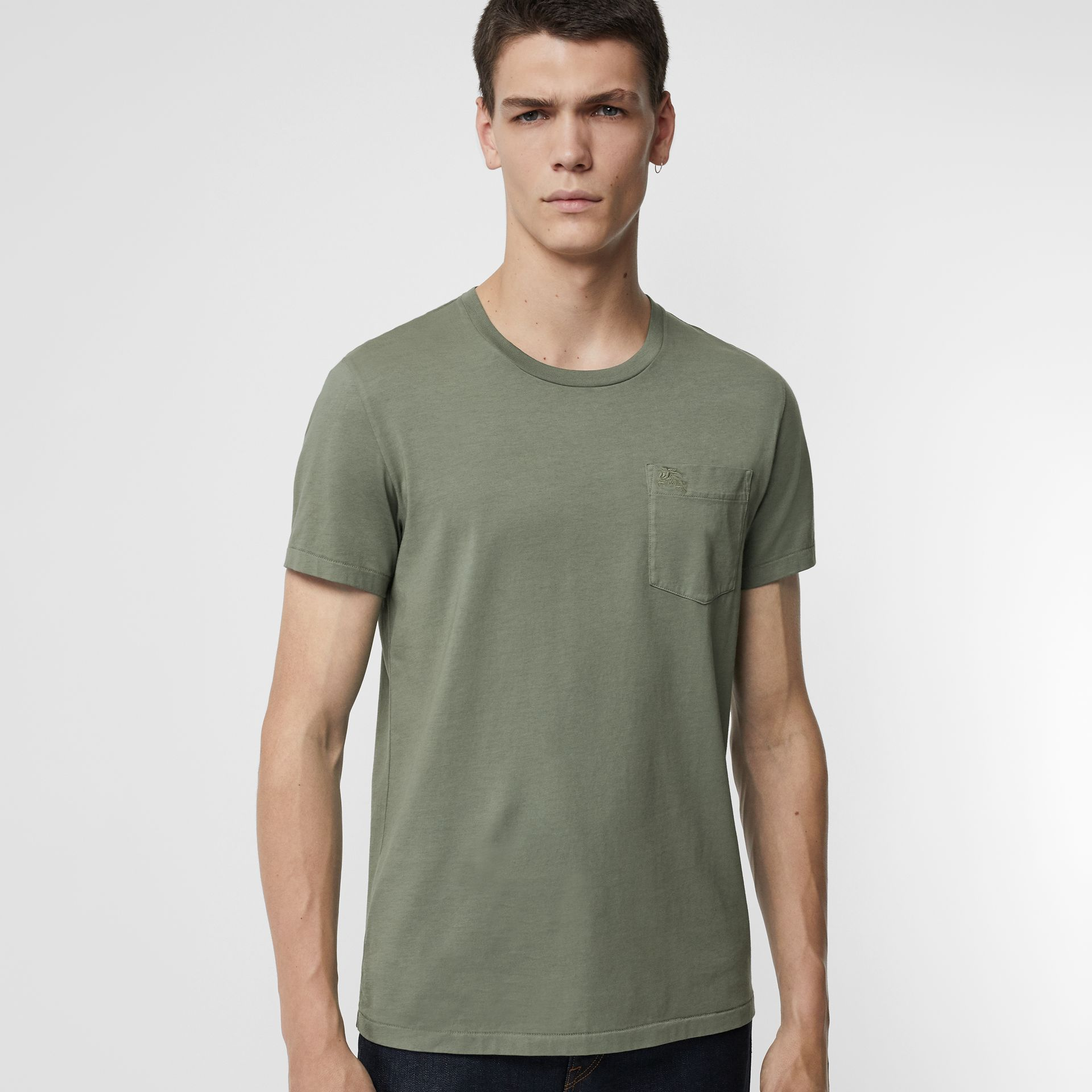 Cotton T-shirt in Clay Green - Men | Burberry Hong Kong - gallery image 0