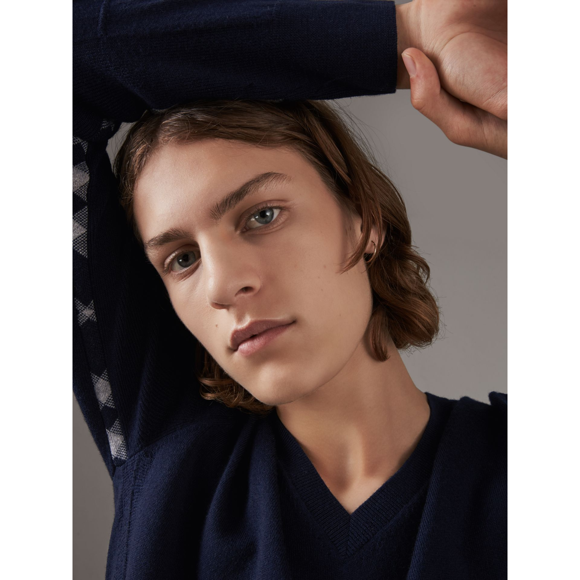 Check Detail Merino Wool V-neck Sweater in Navy - Men | Burberry - gallery image 2