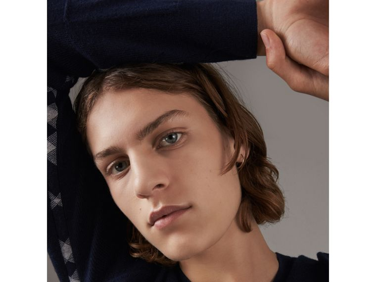 Check Detail Merino Wool V-neck Sweater in Navy - Men | Burberry - cell image 1