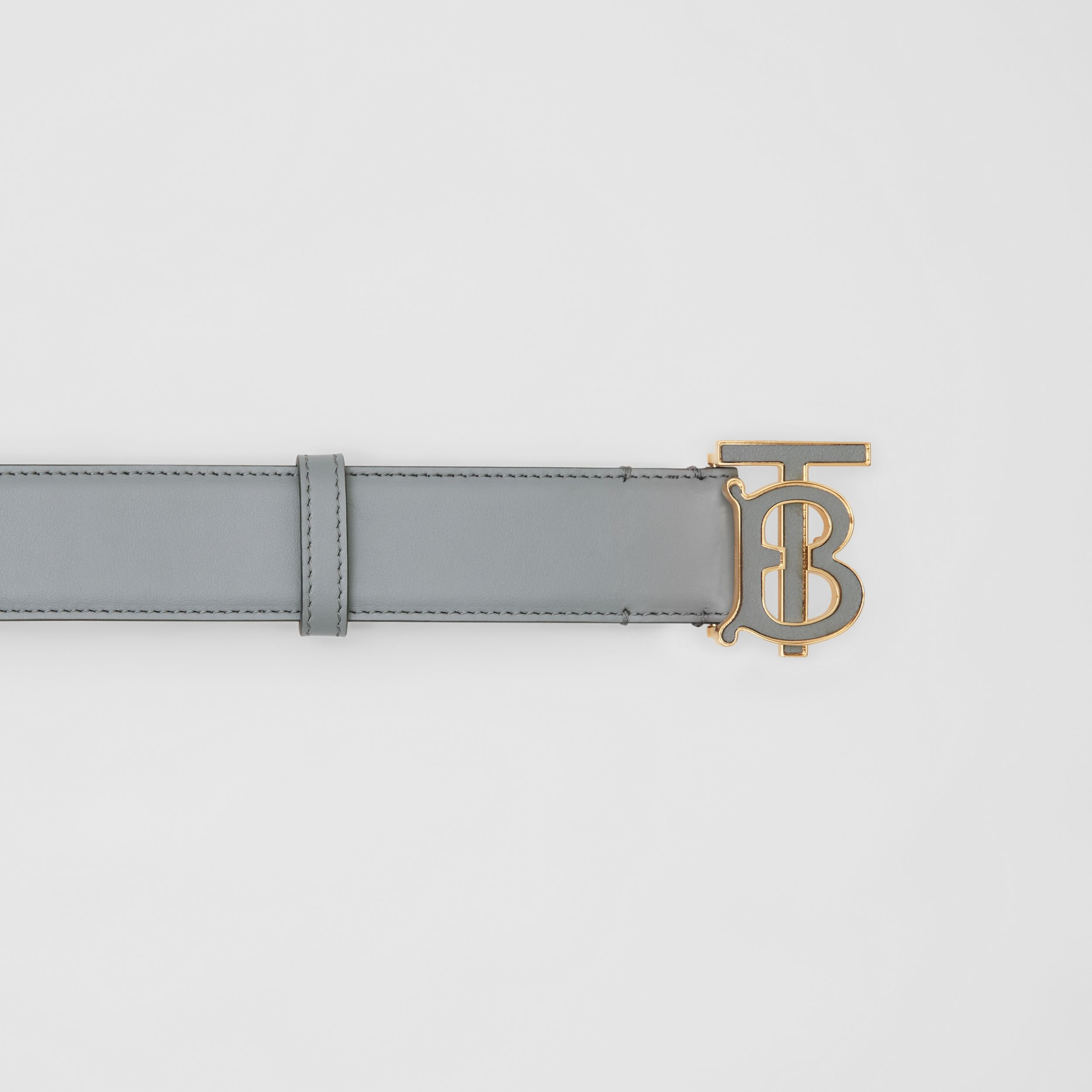 Monogram Motif Leather Belt in Cloud Grey | Burberry - 2