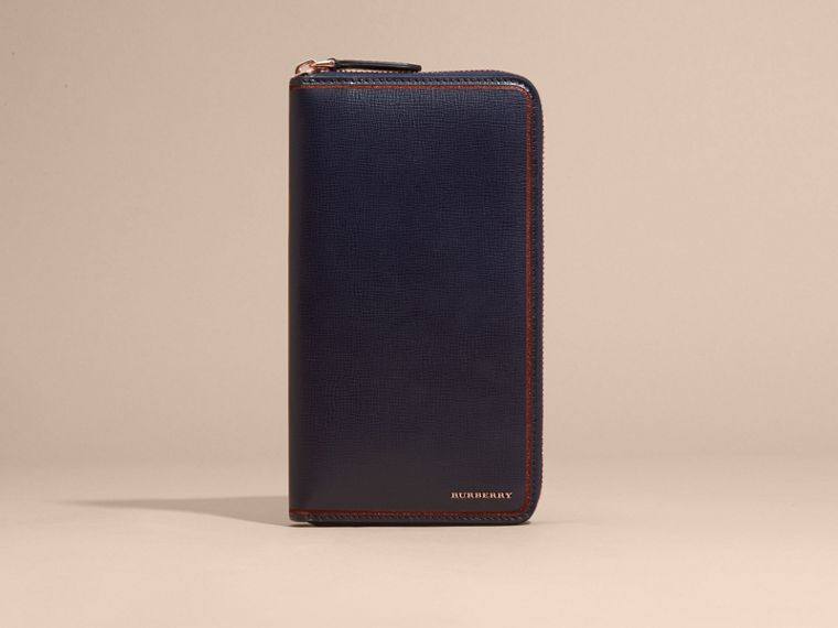 Border Detail London Leather Ziparound Wallet Dark Navy - cell image 1