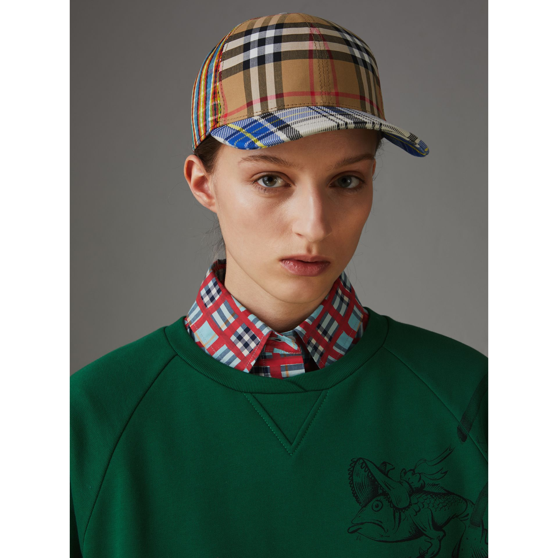 Patchwork Check Baseball Cap in Antique Yellow | Burberry Australia - gallery image 2