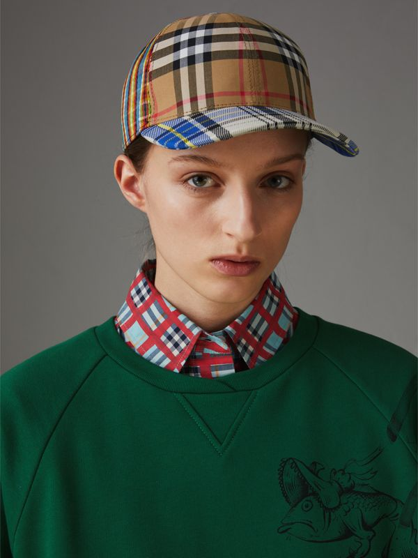 Patchwork Check Baseball Cap in Antique Yellow | Burberry Australia - cell image 2