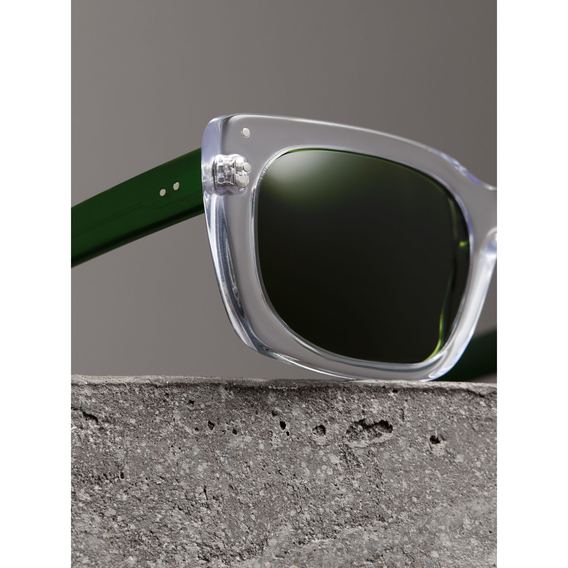 Square Frame Sunglasses in Crystal - Women | Burberry United States - gallery image 1
