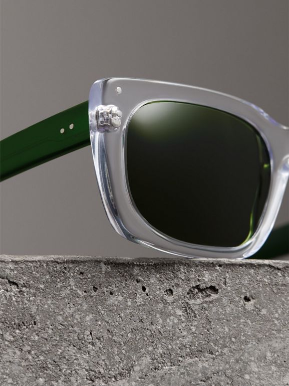 Square Frame Sunglasses in Crystal - Women | Burberry United States - cell image 1