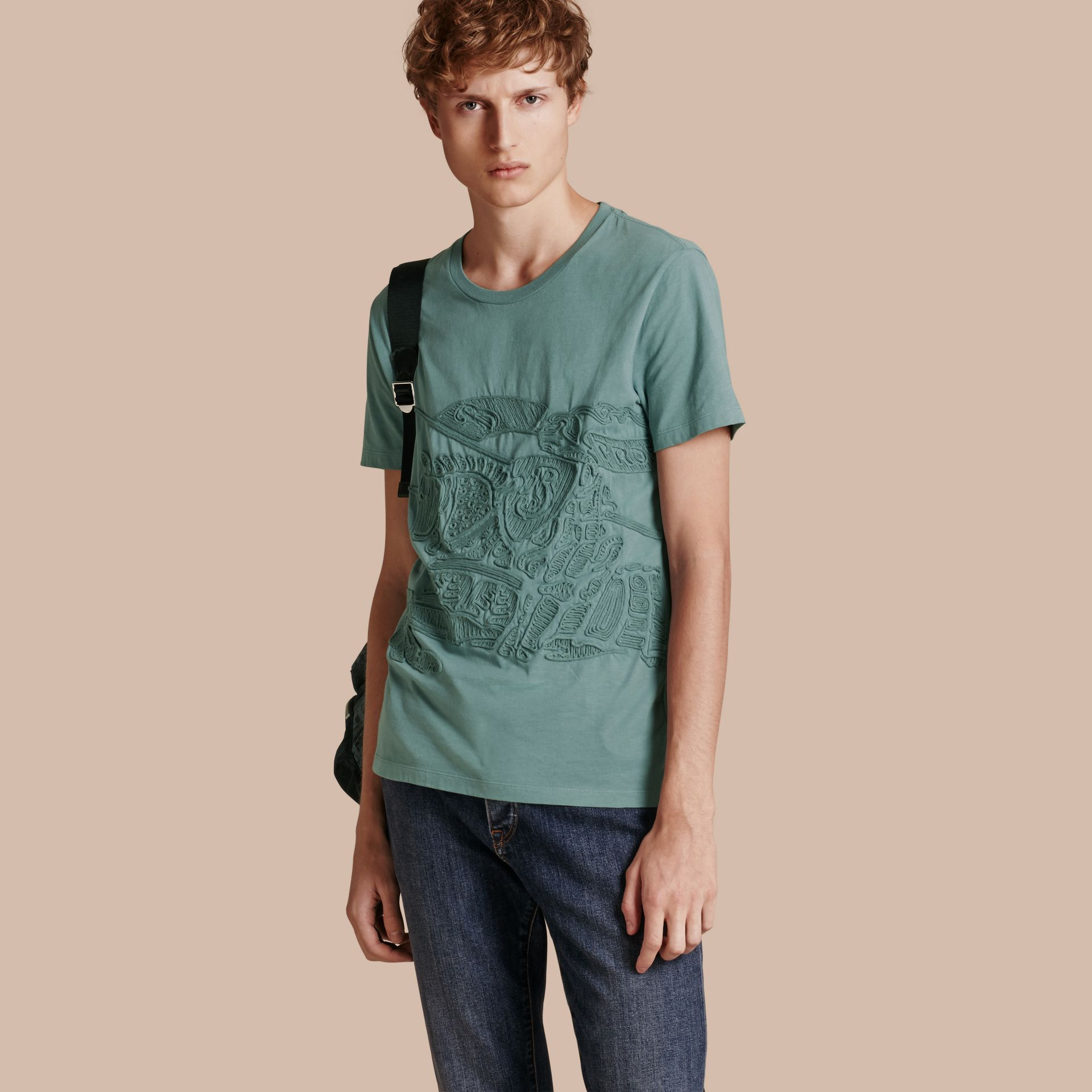 Embroidered Equestrian Knight Cotton T-shirt - gallery image 1