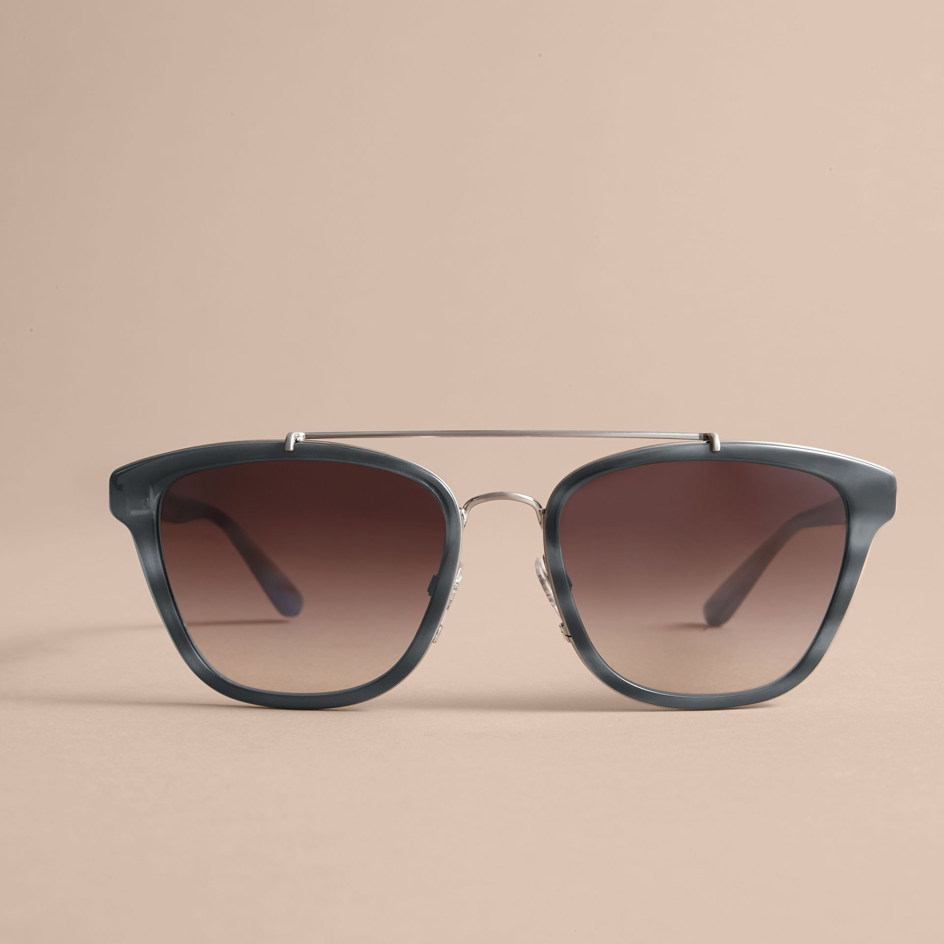 Check Detail Square Frame Sunglasses Blue - gallery image 3
