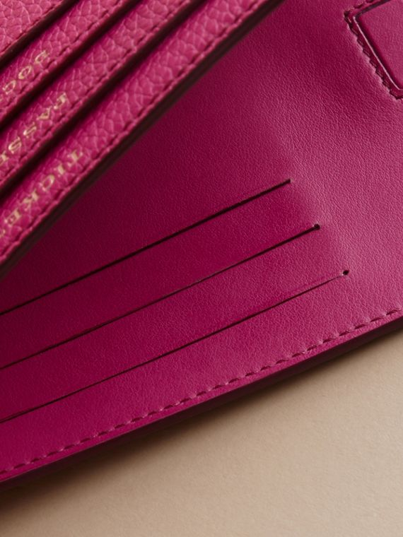 Grainy Leather Travel Case in Brilliant Fuchsia - Women | Burberry - cell image 3