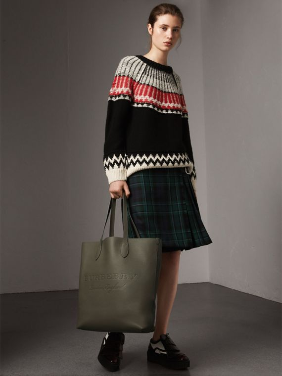 Medium Embossed Leather Tote in Slate Green | Burberry - cell image 2