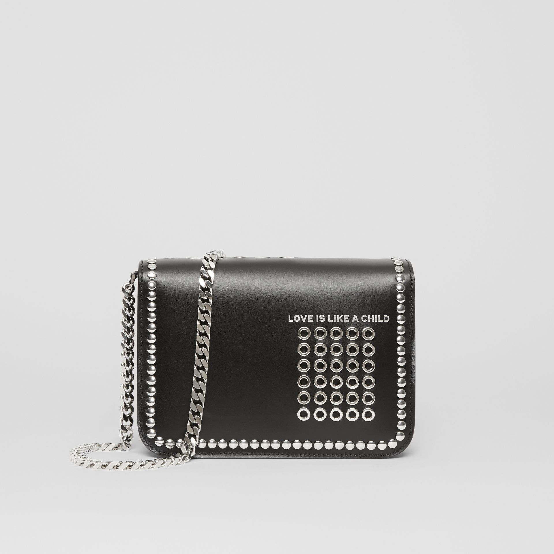 Small Studded Montage Print Leather TB Bag in Black - Women | Burberry - gallery image 7
